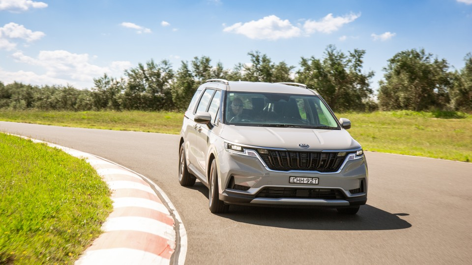 Drive Car of the Year Best People Mover 2021 finalist Kia Carnival front exterior on road