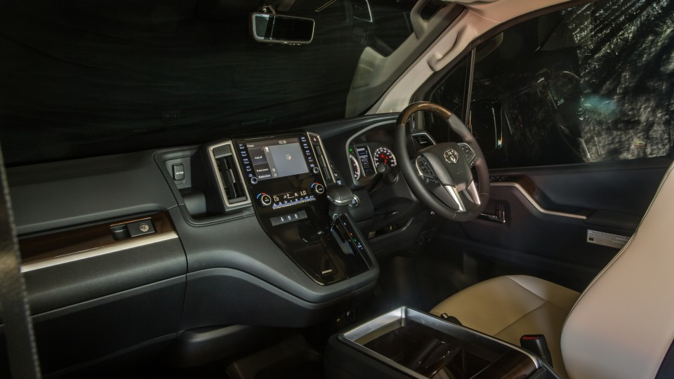 Drive Car of the Year Best People Mover 2021 finalist Toyota Granvia infotainment system, dashboard and steering wheel
