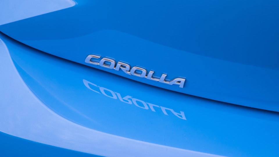 Drive Car of the Year Best Small Car of 2021 finalist Toyota Corolla Hybrid Hatch rear label.