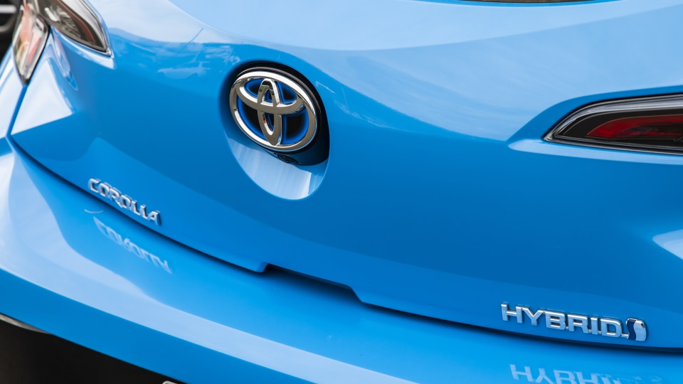 Drive Car of the Year Best Small Car of 2021 finalist Toyota Corolla Hybrid Hatch rear badge close-up.