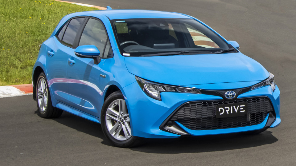 Drive Car of the Year Best Small Car of 2021 finalist Toyota Corolla Hybrid Hatch front exterior view.