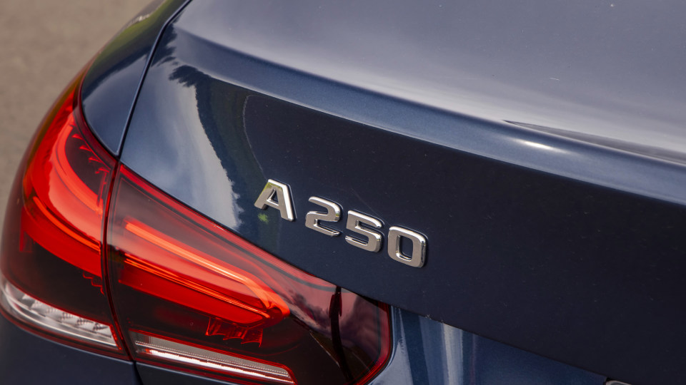 Drive Car of the Year Best Small Luxury Car 2021 finalist Mercedes-Benz A Class left tail light and label close-up