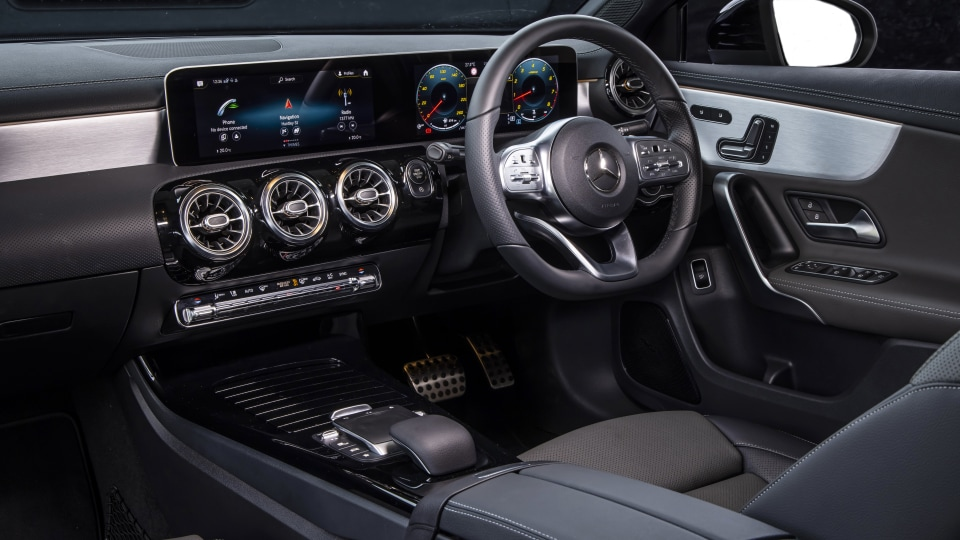 Drive Car of the Year Best Small Luxury Car 2021 finalist Mercedes-Benz A Class interior driver seat and steering wheel