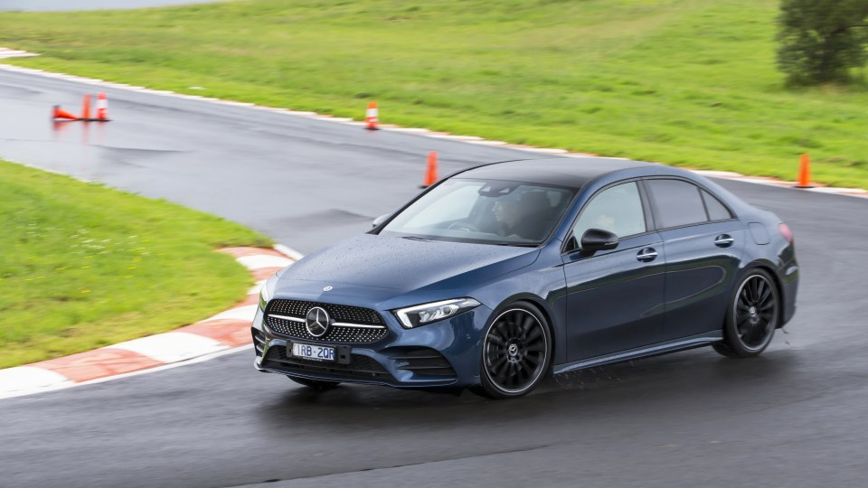Drive Car of the Year Best Small Luxury Car 2021 finalist Mercedes-Benz A Class driven around bend