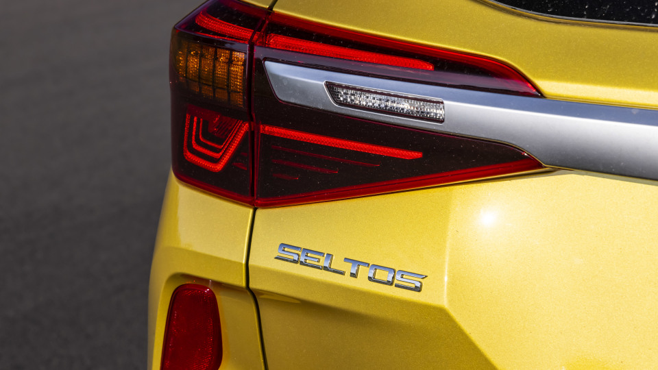 Drive Car of the Year Best Small SUV 2021 finalist Kia Seltos rear left tail light and label