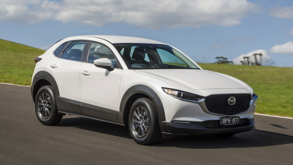 Drive Car of the Year Best Small SUV 2021 finalist Mazda CX-30 front right exterior view