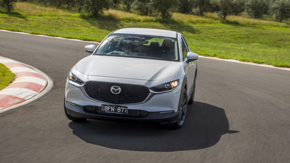 Drive Car of the Year Best Small SUV 2021 finalist Mazda CX-30 driven around a bend