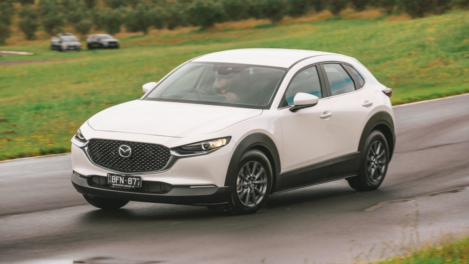 Drive Car of the Year Best Small SUV 2021 finalist Mazda CX-30 driven on road circuit