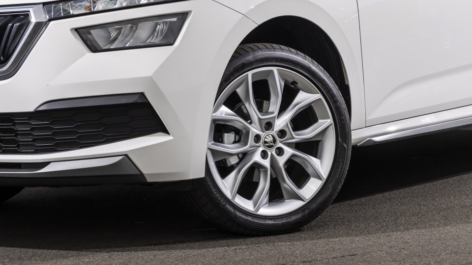 Drive Car of the Year Best Small SUV 2021 finalist Skoda Kamiq front left wheel close-up.