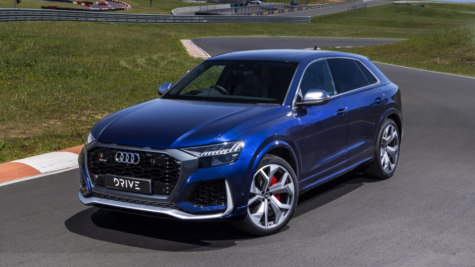 Drive Car of the Year Sports Performance SUV 2021 finalist Audi RSQ8 front exterior view.