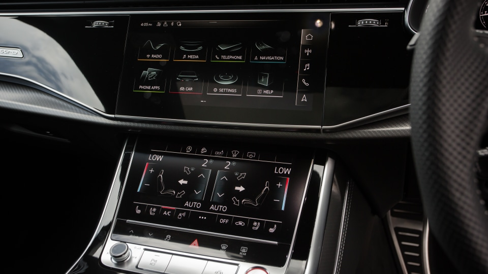 Drive Car of the Year Sports Performance SUV 2021 finalist Audi RSQ8 infotainment and air-conditioning.