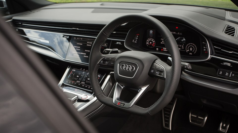 Drive Car of the Year Sports Performance SUV 2021 finalist Audi RSQ8 steering wheel and dashboard.