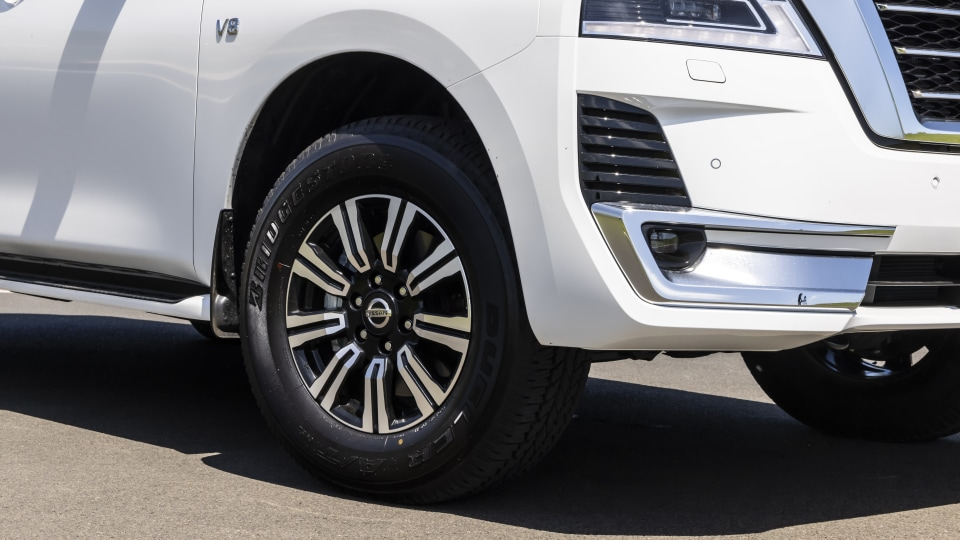 Drive Car of the Year Best Upper Large SUV 2021 finalist Nissan Patrol front right wheel