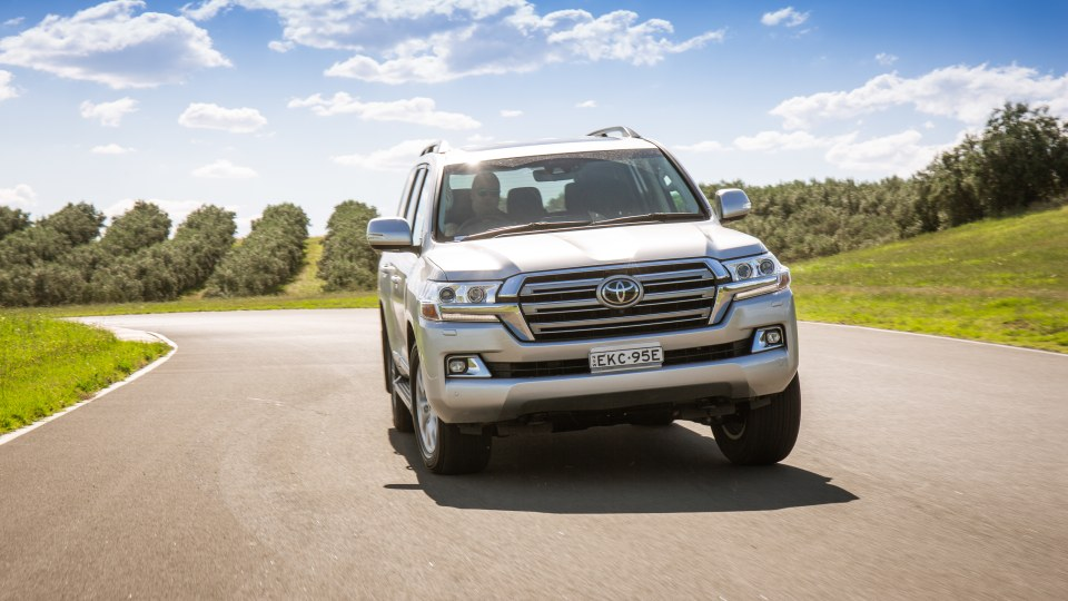 Drive Car of the Year Best Upper Large SUV 2021 finalist Toyota Landcruiser front exterior view on road wide shot