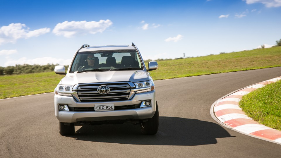 Drive Car of the Year Best Upper Large SUV 2021 finalist Toyota Landcruiser driven around bend