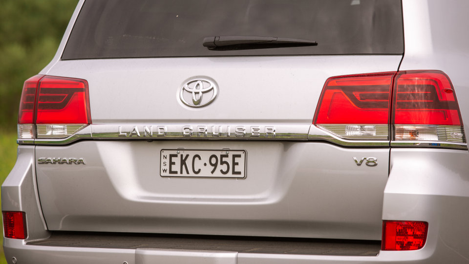 Drive Car of the Year Best Upper Large SUV 2021 finalist Toyota Landcruiser rear exterior view close-up