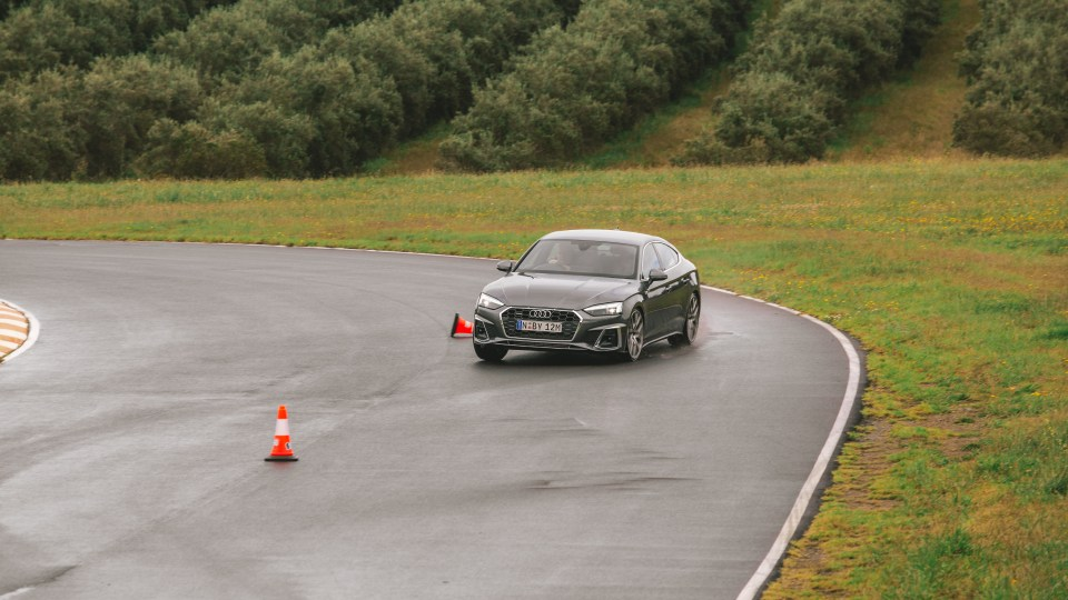 Drive Car of the Year Best Medium Luxury Car 2021 finalist Audi A5 driven on road circuit