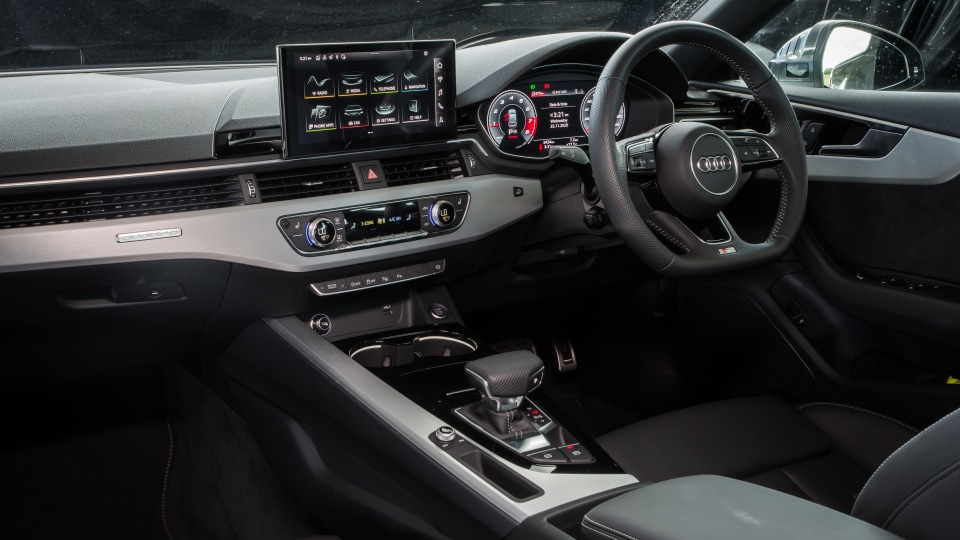 Drive Car of the Year Best Medium Luxury Car 2021 finalist Audi A5 infotainment system, dashboard and steering wheel