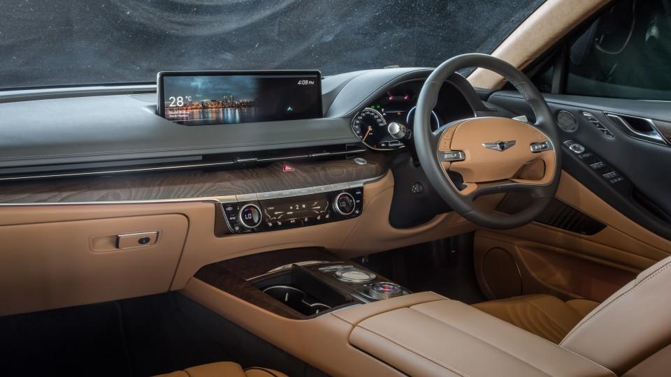 Drive Car of the Year Best Medium Luxury Car 2021 finalist Genesis G70 interior driver seat view