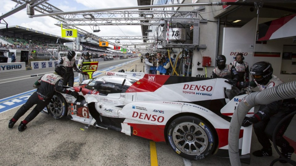 Mechanics repair the Toyota TS050 Hybrid of the Toyota Gazoo Racing team driven by Mike Conway, Kamui Kobayashi and Stephane Sarrazin.