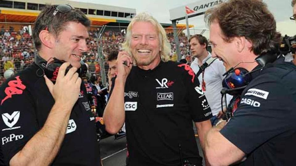 Richard Branson on the grid before race.