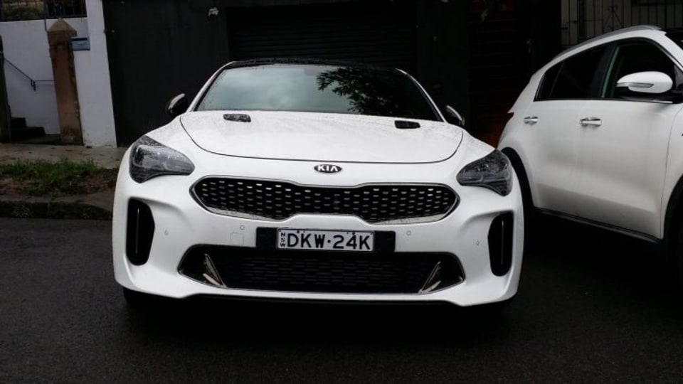 The upcoming Kia Stinger was caught undisguised in Sydney.