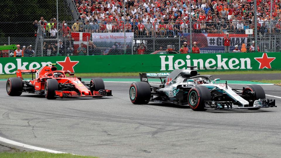 Lewis Hamilton leads Kimi Raikkonen in the 2018 Italian GP.