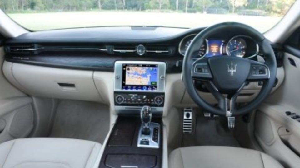 Inside the Maserati Quattroporte.