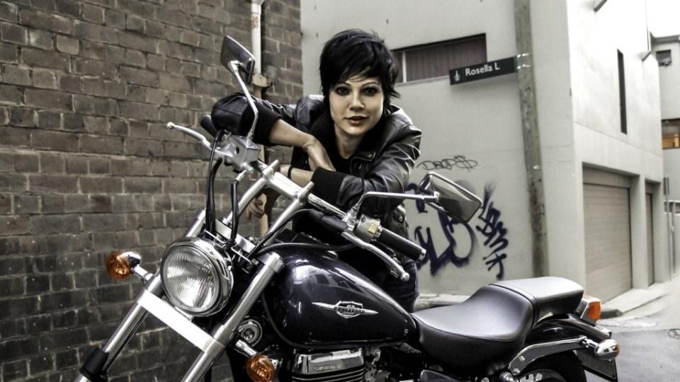 Easy rider: Sarah McLeod with her Suzuki Boulevard.