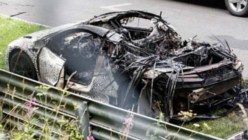 A Honda NSX prototype burned to the ground during testing at the Nurburgring in Germany.