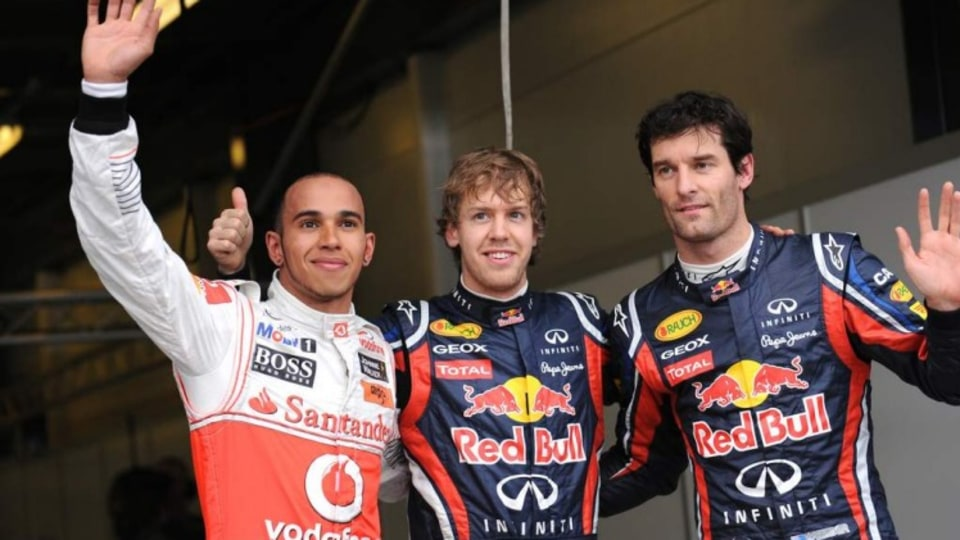2011 Formula One 1 Grand Prix at Albert Park Melbourne.  Red Bull racing driver Sebastian Vettel after being top qualifier ahead of Lewis Hamilton and MArk Webber 3rd.    . Picture by Vince Caligiuri ,The Age 26th March 2011