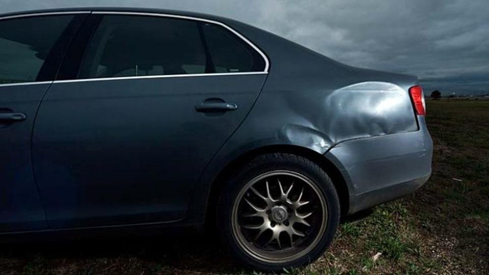 Neil Prosser's damaged Volkswagen Jetta.