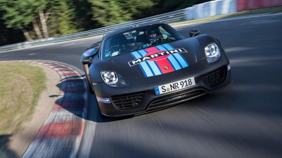 The Porsche 918 Spyder at the Nurburgring.