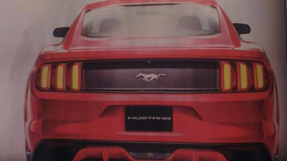 The leaked Autoweek cover spread that shows the new Ford Mustang.