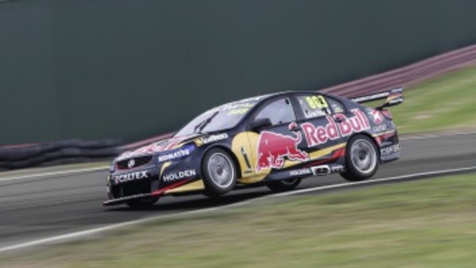 On the track: Red Bull Racing Holden Commodore in action.