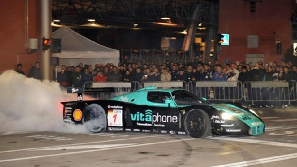 Maserati Celebrates FIA GT Win - With Doughnuts
