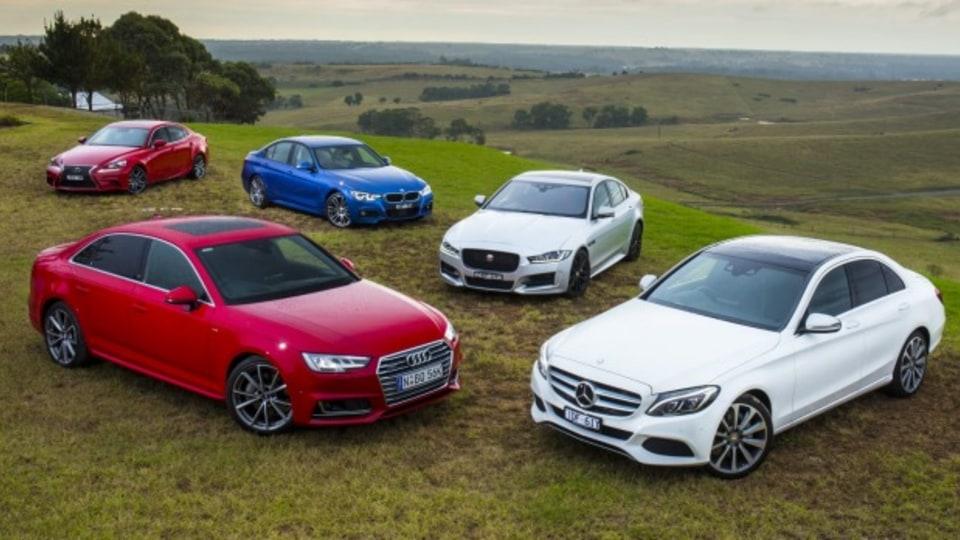 Mid-size luxury comparison test: Audi A4, Mercedes-Benz C-Class, Lexus IS, BMW 3-Series and Jaguar XE.