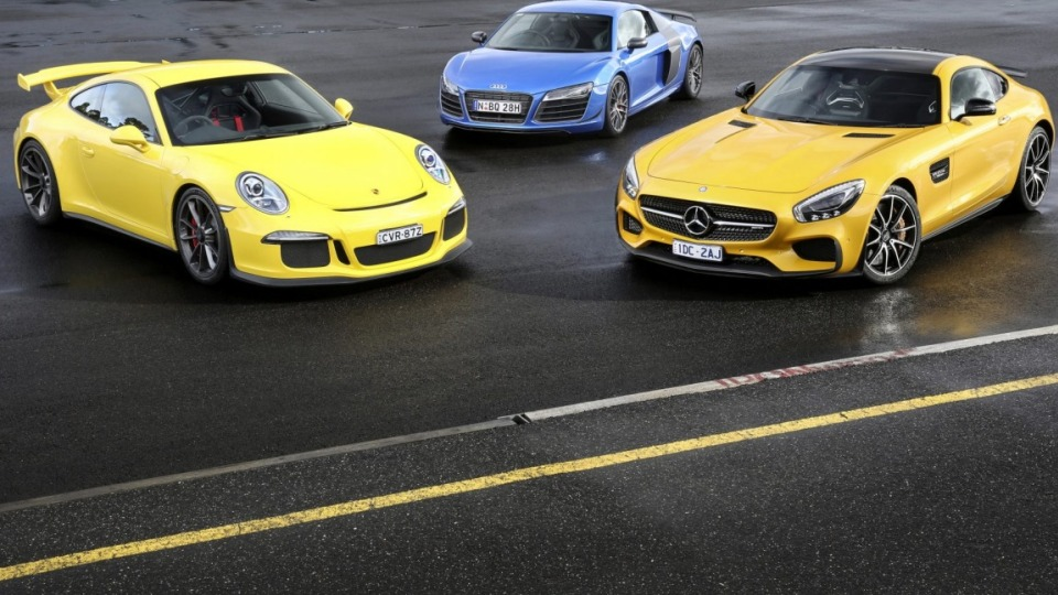 We pit the new Mercedes-AMG GT S against two of the best supercars out there, the Porsche 911 GT3 and Audi R8 LMX.