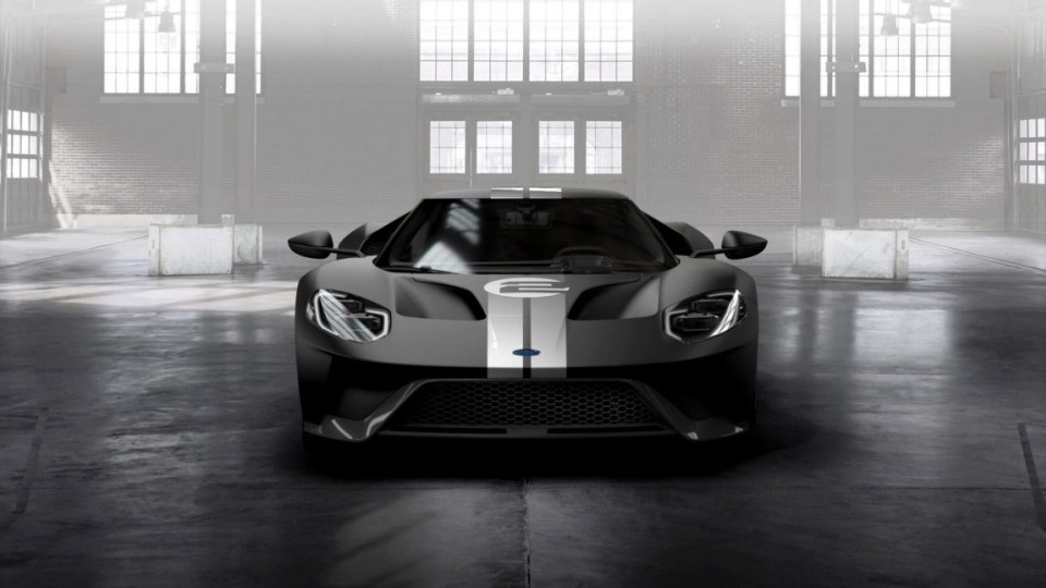 The Ford GT '66 Heritage Edition with unique black and silver-stripe livery celebrates 1966 Le Mans-winning GT40 Mark II race car.