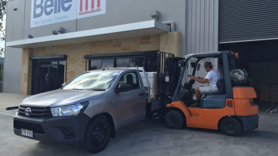 Toyota HiLux SingleCab Workmate 4x2 is loaded with a one tonne pallet.
