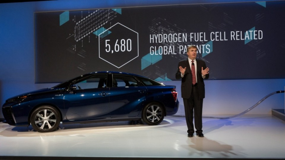 Toyota's Bob Carter releasing patents for the hydrogen fuelled Mirai.