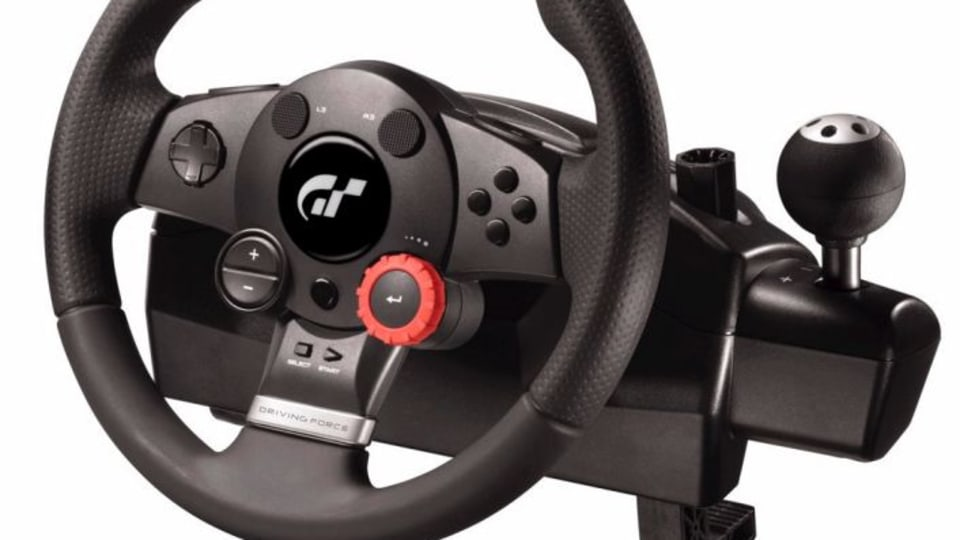 A Logitech computer steering wheel similar to the one used by Apple.