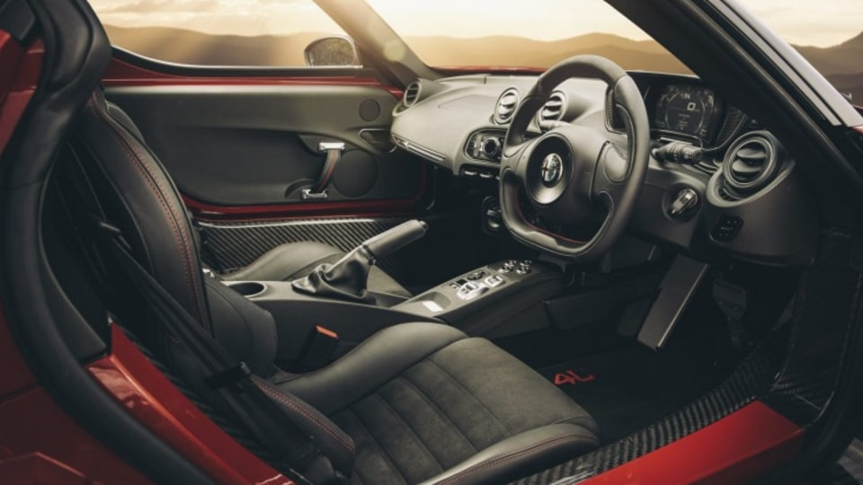 The 4C interior is performance focused but there are some sacrifices to luxury.