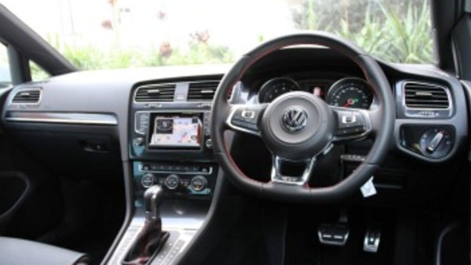 The Volkswagen Golf GTI's cabin.