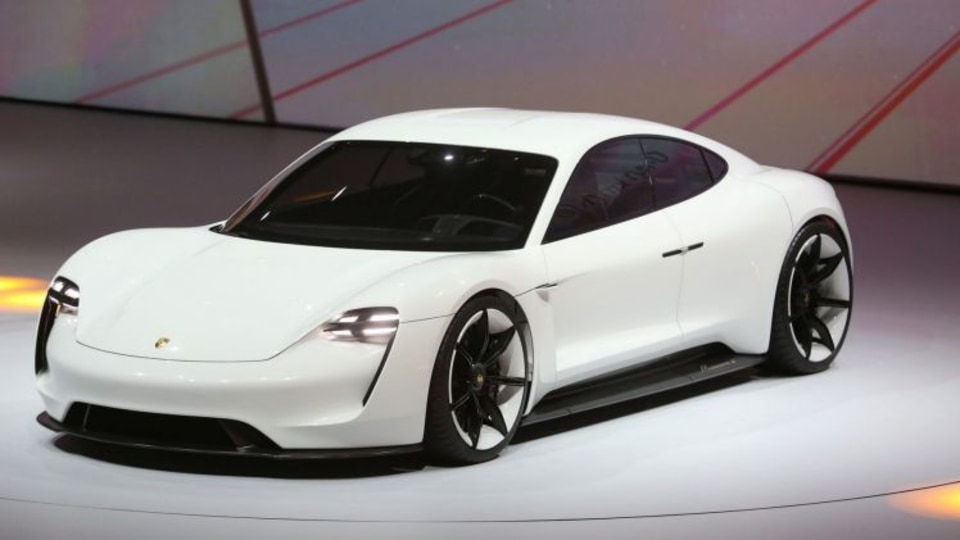 The Porsche Mission E Concept presented at the Frankfurt Motor Show in 2015.