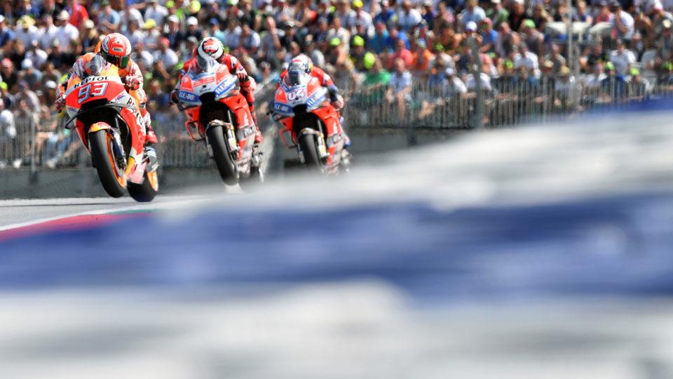Marc Marquez leads Jorge Lorenzo and Andrea Dovizioso.