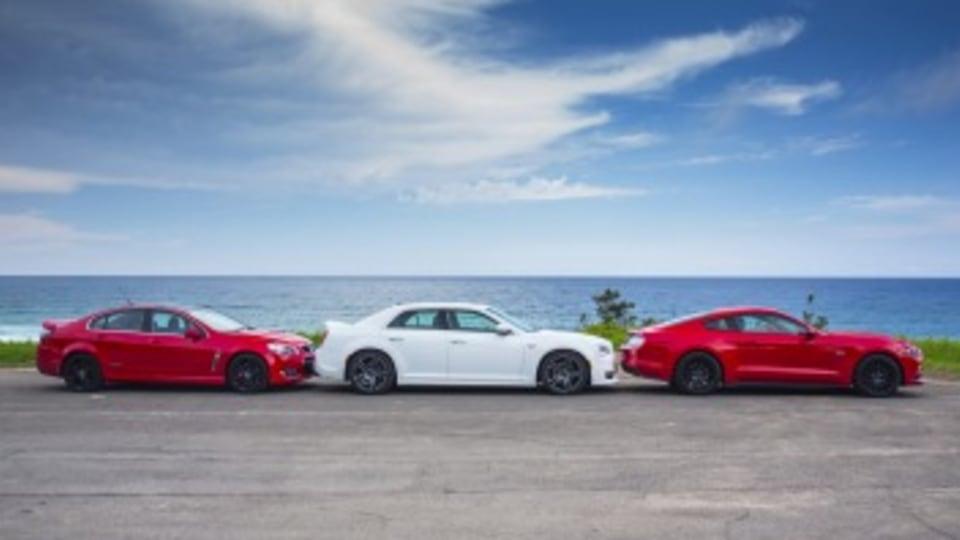 L-R: Holden Commodore SS-V Redline v Chrysler SRT Core v Ford Mustang GT