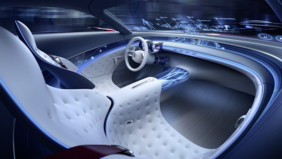 """Tiny """"body sensor displays"""" monitor passengers' vital functions in order to try to determine whether it needs to warm or cool the car's seats or whether the passenger might like a massage."""