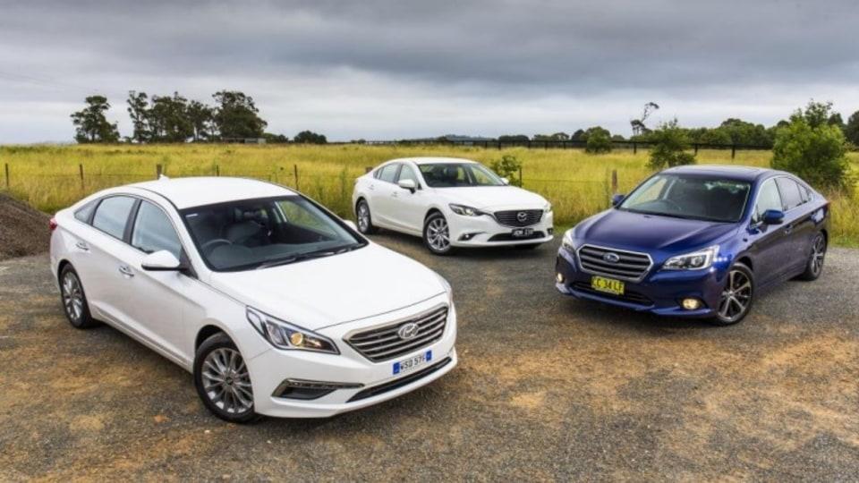 Top trio: (L-R) Hyundai Sonata, Mazda6 and Subaru Liberty.