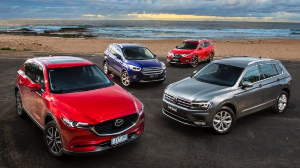 Mid-size SUV comparison: The new Mazda CX-5, Nissan X-Trail and Ford Escape take on the on the Volkswagen Tiguan.